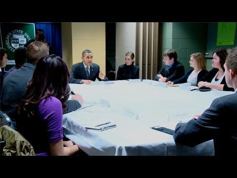 President Obama Drops By Youth Roundtable In Cleveland