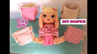 DIY How to make Baby Alive Reusable Doll Diapers free pattern handmade tutorial