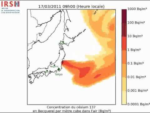Simulation de Nuage radioactif Fukushima (IRSN)