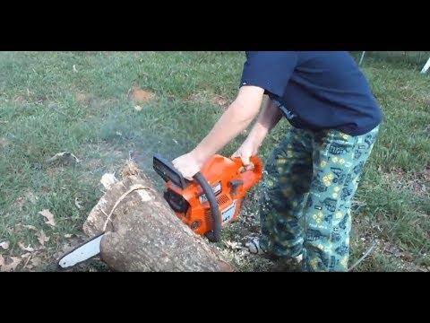 Stihl Chainsaw Kid Cutting A Tree