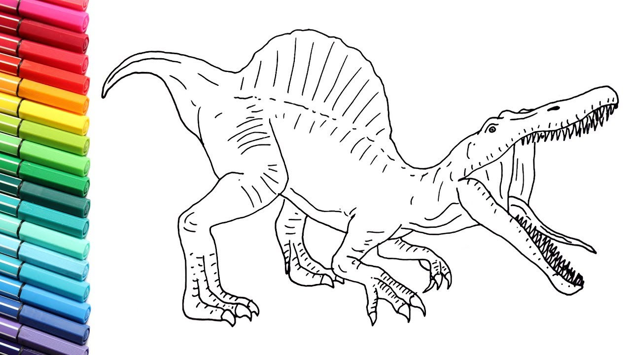 How to draw dinosaurs for children drawing and coloring spinosaur from jurassic world