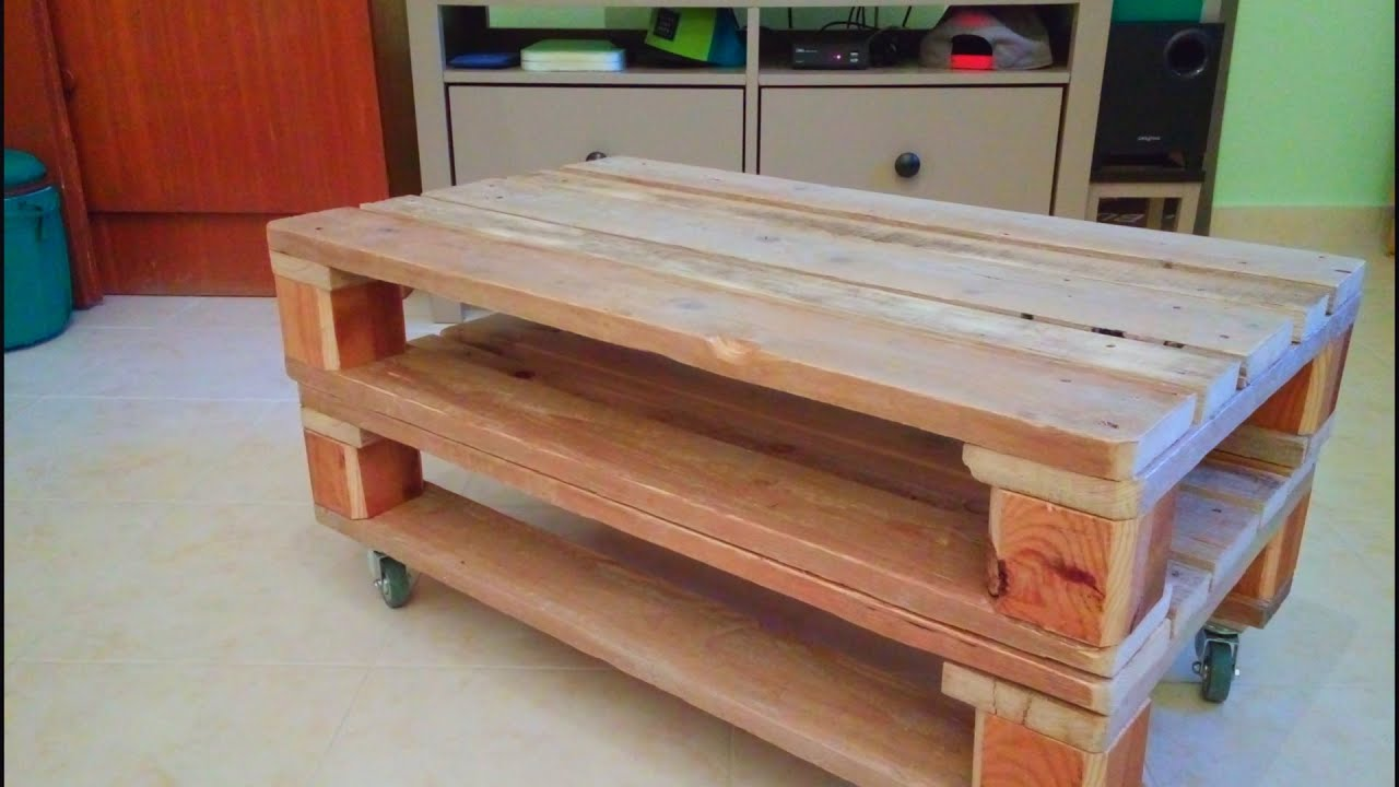 How to make a coffee table with pallets youtube for How to build a coffee table out of pallets