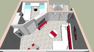 Drugo idejno riješenje interijera stana Montovjerna, Dubrovnik (Google SketchUp 2015)