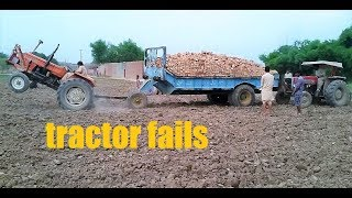 best tractor fails,heavy loaded trolly with 5000 briks tractor videos