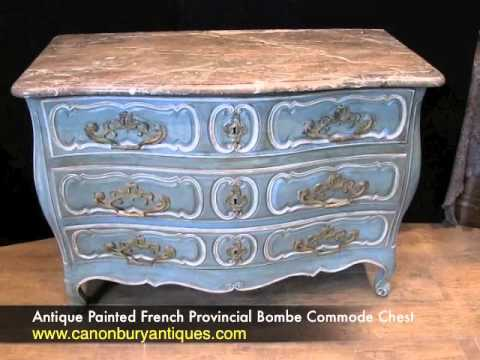Antique Painted French Provincial Bombe Commode Chest