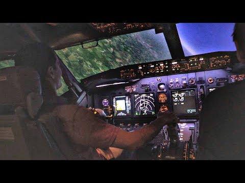 Boeing 737 Full Motion Flight Simulator   Takeoff & STEEP TURNS   Flight Simmer at the Controls!