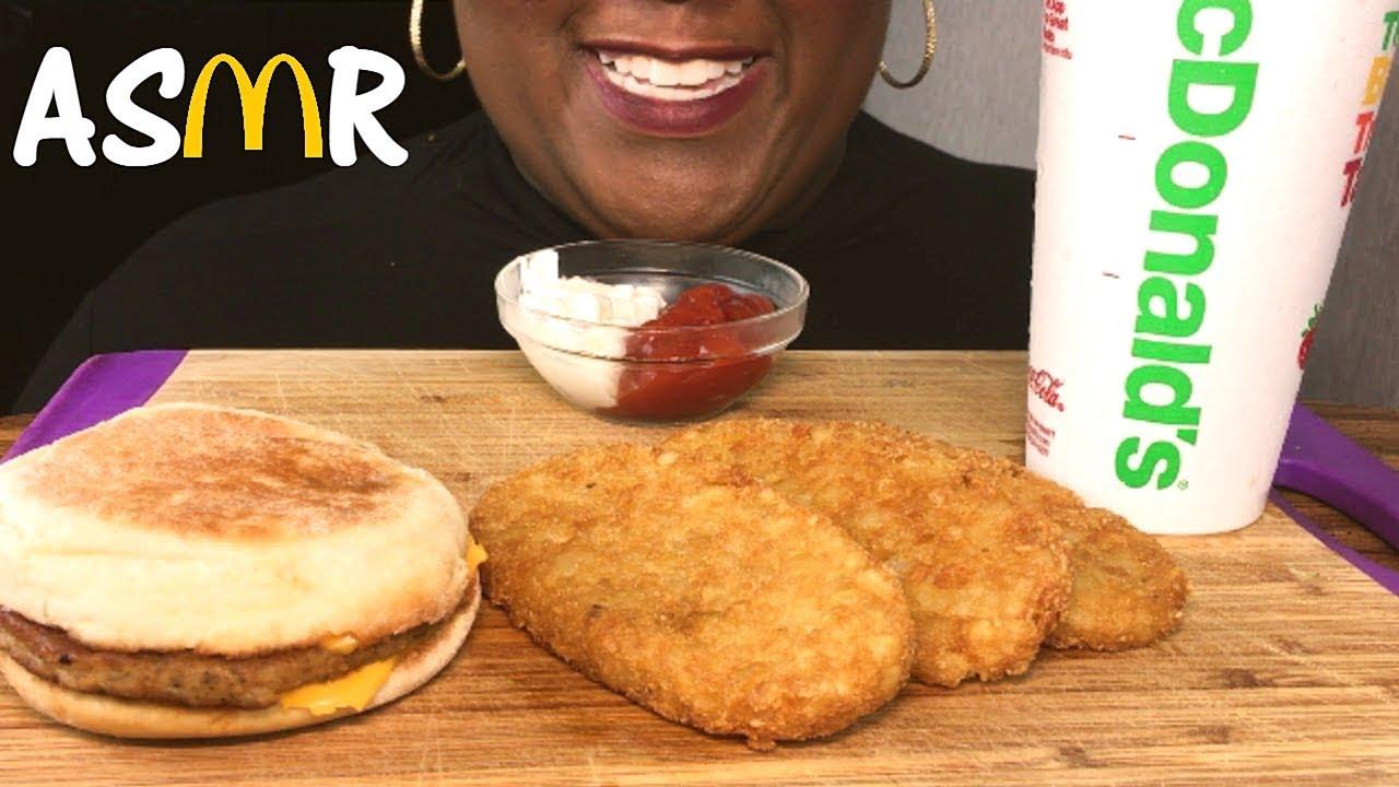 Asmr Mcdonalds Breakfast Crunchy Hashbrowns English Muffin Eating Sounds No Talking