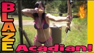 FLAMING ARROWS! 48 year old Farm Girl Shooting  in her bikini and setting a bonfire ablaze!