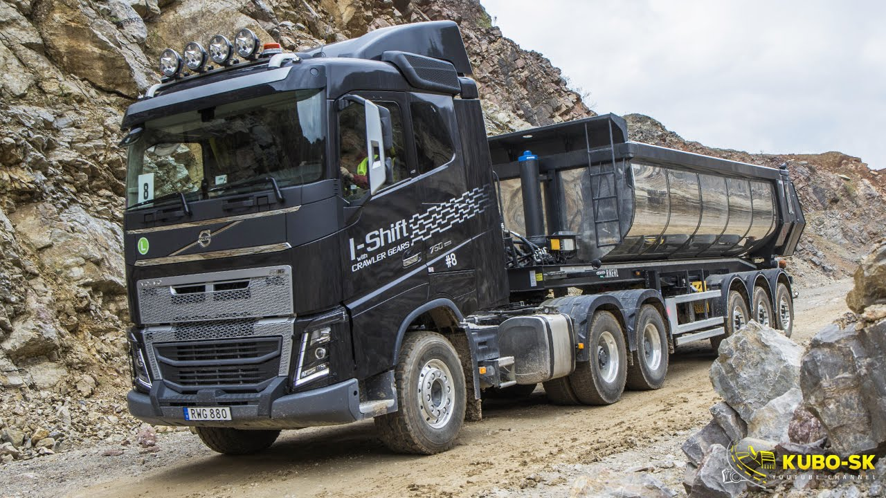 volvo fh 16 750 euro 6 with tipper semitrailer test drive in the quarry youtube. Black Bedroom Furniture Sets. Home Design Ideas