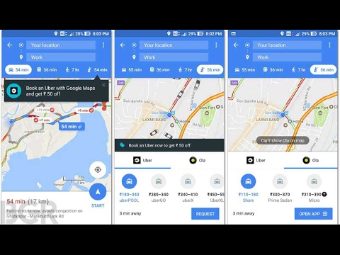 How To Book An Ola Or Uber Using Google Maps From Android & IOS Smartphone