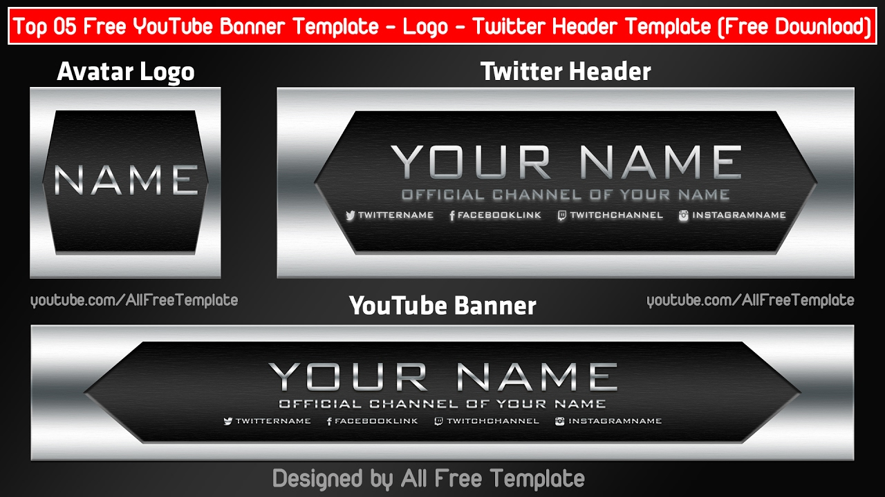 Top 05 Free Youtube Banner Template - Logo