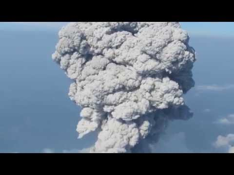 Explosion of Santiaguito volcano, view from Santa María volcano