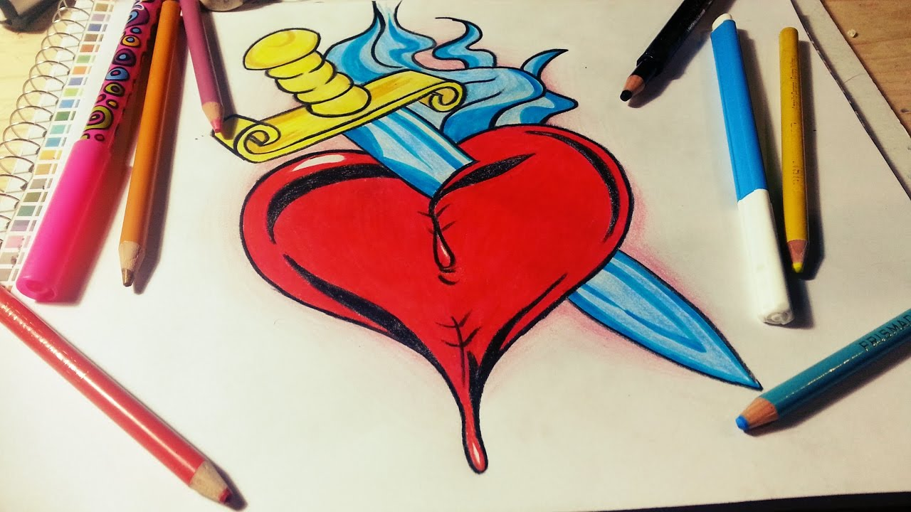 Dibujando Un Corazón Con Espada Speed Drawing Fer Art Youtube
