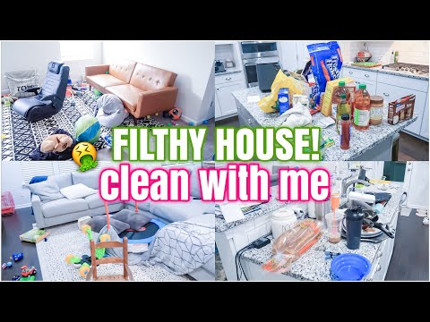 FILTHY HOUSE CLEAN WITH ME | EXTREME CLEANING MOTIVATION | COMPLETE DISASTER CLEANING - Happily Ever Becka