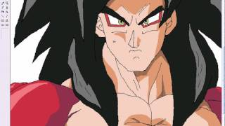 Goku ssj 4 speed painting in MS paint drawing ITA Dragon Ball Z by Gamby