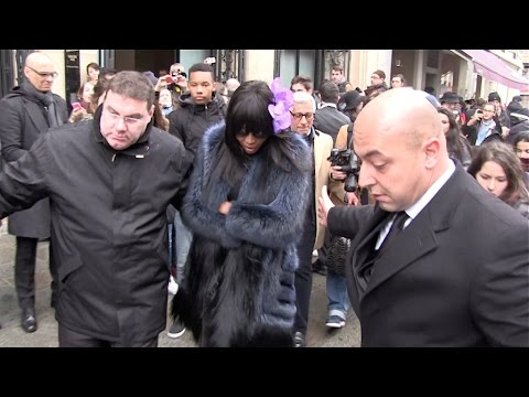 EXCLUSIVE – Naomi Campbell leaving Jean Paul Gaultier Fashion Show and taking the Eurostar in Paris