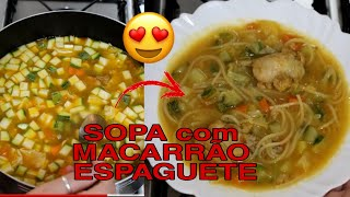 Receita de Sopa com Macarrão Espaguete