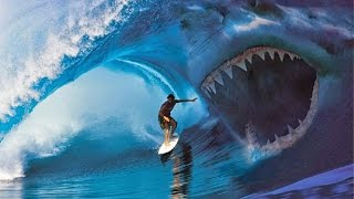 WORLD'S BIGGEST SHARK EVER CAUGHT ON CAMERA MEGALODON 2014
