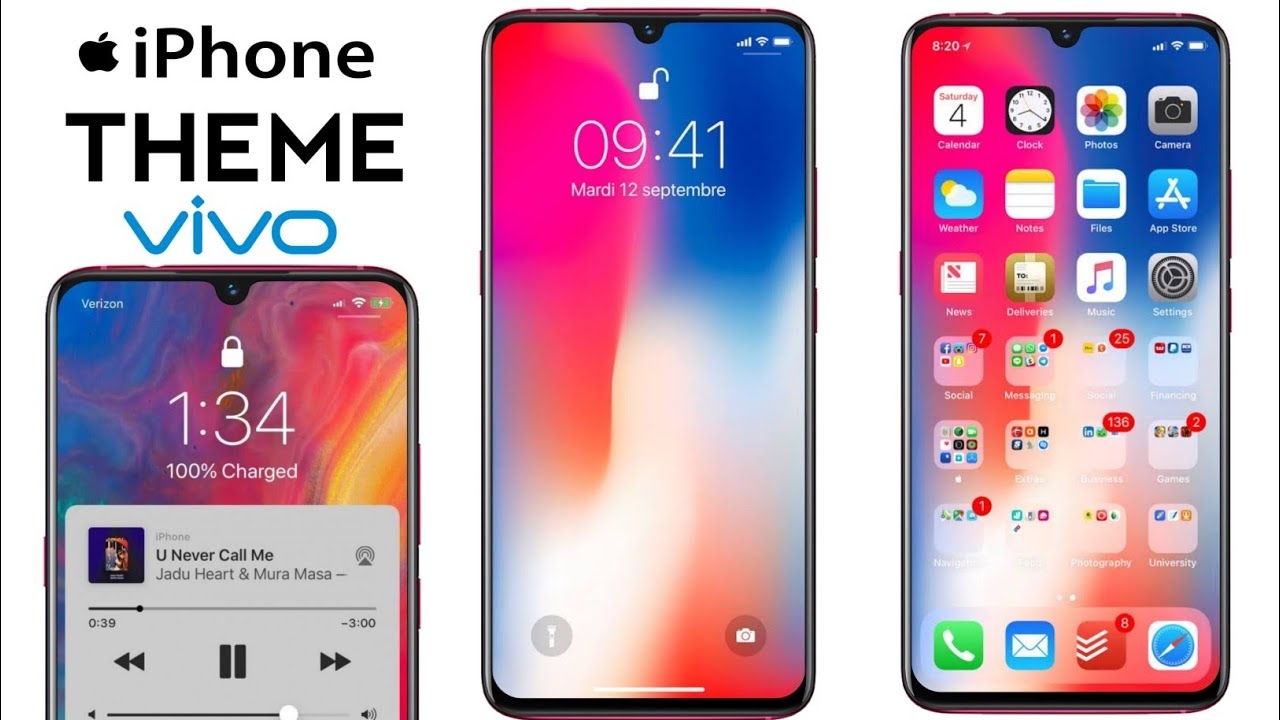 iPhone X Theme For Vivo V11, V9, V7, V5, V3, V1 Y83, Y55S, Y51, Y31, Y21  AND ALL VIVO DEVICE