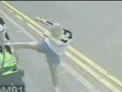 CCTV of shocking attack as man karate kicks traffic warden in Leicester