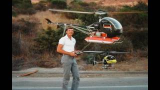 2 rc Helis flown at once! A Hughes 300 1/4 & 1/20th scale. thumbnail