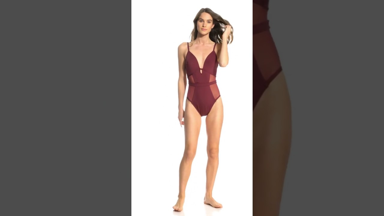24055e5e60e24 Kenneth Cole Sexy Solids Mesh Push Up One Piece Swimsuit | SwimOutlet.com
