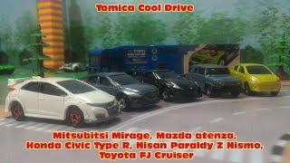 Tomica Cool Drive , Mitsubitsi Mirage, Mazda atenza, Honda Civic Ty...