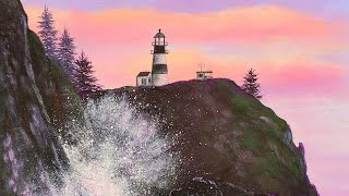 """Lighthouse Rocky Seashore"" Beginner Basics Series Acrylic Painting LIVE Tutorial"