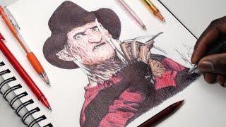 Drawing Freddy Krueger - INKTOBER DAY 31 - Nightmare On Elm Street - DeMoose Art