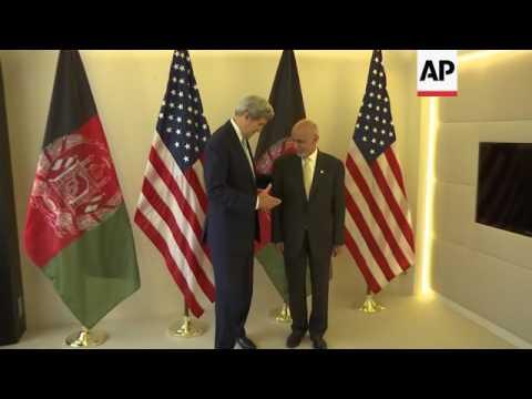 Kerry meets Afghan leaders in Brussels
