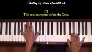Skating by Vince Guaraldi Piano Tutorial SLOW v.2