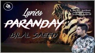 Paranday | Lyrics | Bilal Saeed | Latest Punjabi Sad Song 2016 | Syco TM