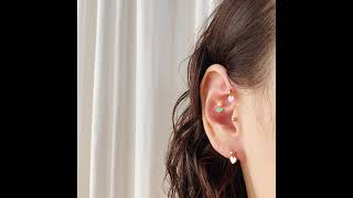 14K 에나멜 하트 드롭 볼 피어싱 귀걸이 (미니멀피어…