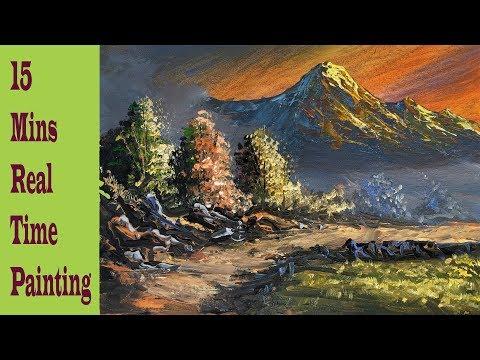 Sunrise Mountain Painting   Beautiful Acrylic Sunrise Mountain And Trees Landscape Painting   Art