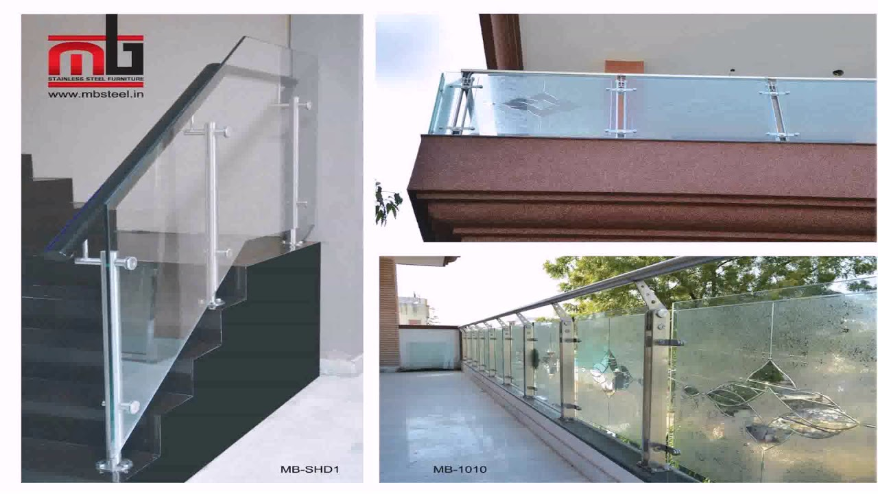 Stainless Steel Balcony Grill Design With Glass - YouTube