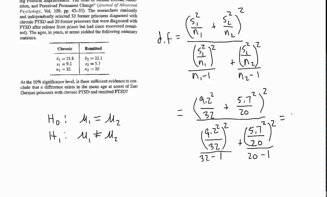 two sample hypothesis test unknown sigma unequal variances qmm 241 ...