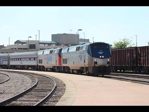 Amtrak Exhibit Train arriving at Dallas Union Station - 9-21-2016