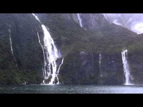 Milford Sound, NZ, Waterfalls, Fiordland National Park.