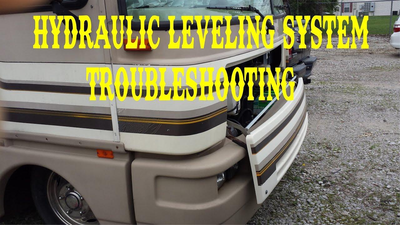 HYDRAULIC JACKS LEVELING SYSTEM TROUBLESHOOTING FLEETWOOD BOUNDER  FULL TIME RV , VLOG  YouTube