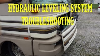 HOW TO FILL HYDRAULIC JACKS LEVELING SYSTEM TROUBLESHOOTING FLEETWOOD BOUNDER / FULL TIME RV , VLOG