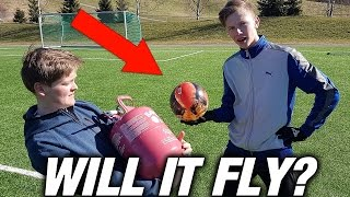 Filling PLASTIC FOOTBALL with HELIUM!! Will it Fly?