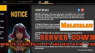 How to claim Falco pet ,  skin in free fire !!               Sarovar down 🥺