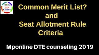 MP DTE COUNSELLING 2019 FIRST ROUND SEAT ALLOTMENT RESULT