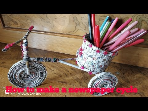 How to make a Newspaper handmade cycle I DIY Newspaper cycle craft idea - part 2