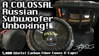 A COLOSSAL Russian Subwoofer Unboxing! Pride Car Audio Carbon Fiber 12