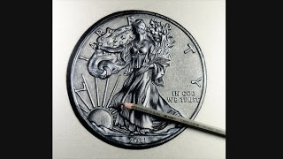 Dollar Coin Drawing, American Silver Eagle, Hyper realistic art