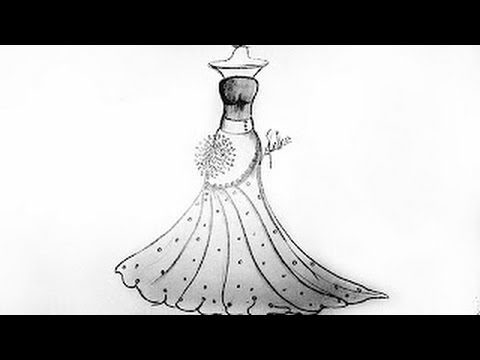 dress designs drawing 2016 - YouTube