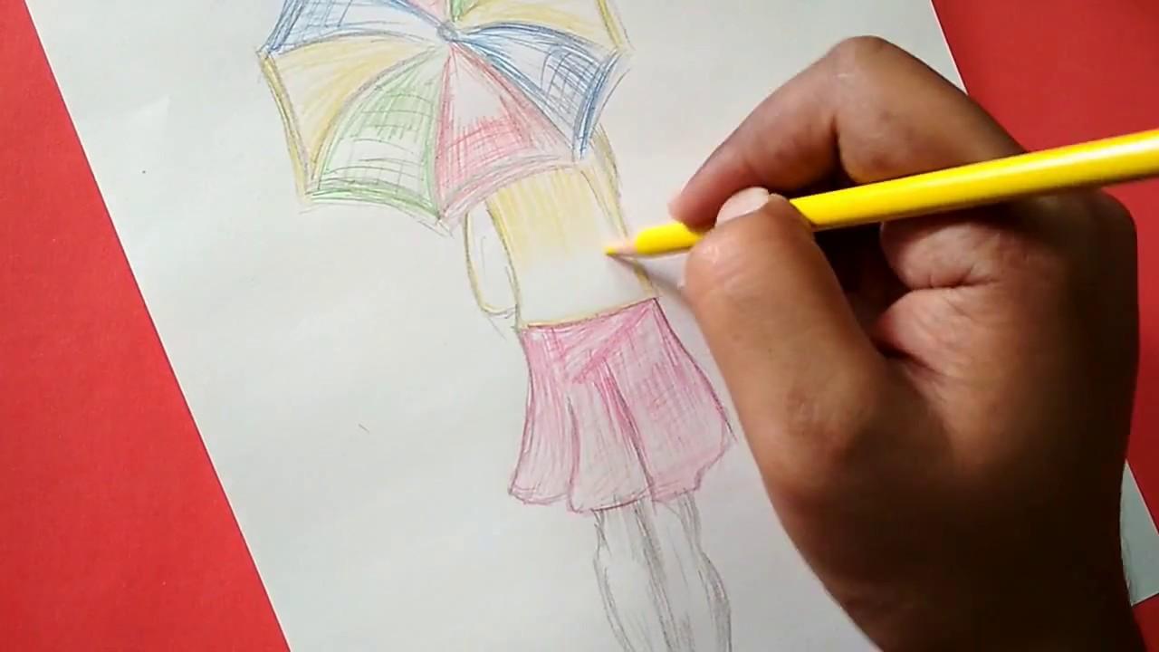 Umbrella girl pencil art girl in rain with umbrella with colored pencil 2017