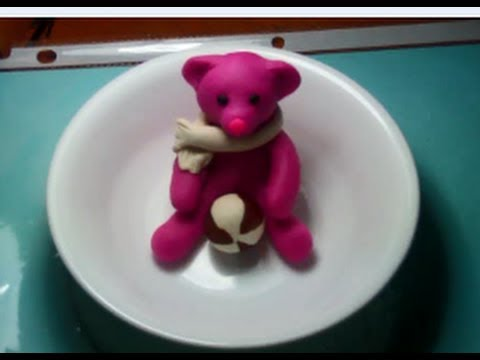 Clay Modeling Cute Teddy Bear With Ball Youtube