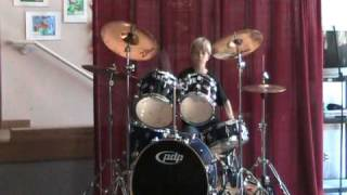 drum solo amazing ending kid drummer 8 yrs old rocks the talent show 2010